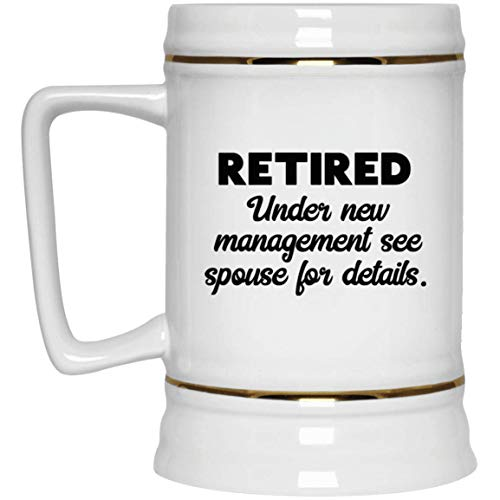 Air Force Stein - Retirement Beer Stein - 22 oz Gold Trim - Funny Novelty Gift Idea Finally Happy Legend for teacher nurse doctor army navy air force police principal firefighter banker postal worker