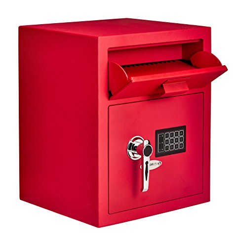 AdirOffice Digital Depository Safe - Front Loading - Digital Keypad Lock - Lockout Mode (Red)