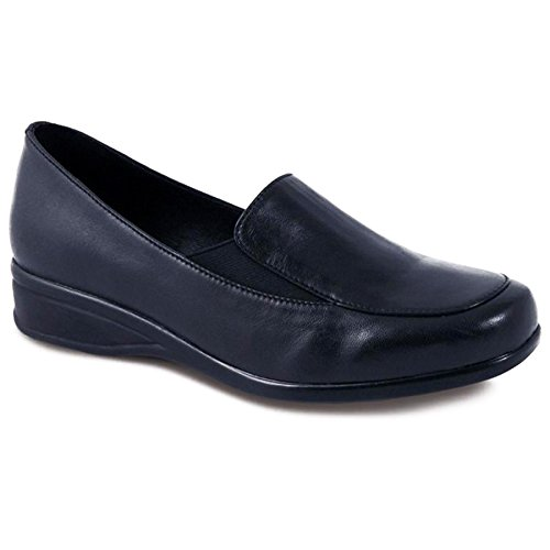 FANTASIA BOUTIQUE ® Ladies Small Wedge Black Pewter Leather Women's Comfy Wide Fitting Shoes Navy SlUMjIim5G