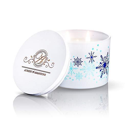 Aubert & Amandine Comfort Apple Cinnamon Snowflake Aromatherapy Scented Soy Candle Large 3 Wick Velas Aromaticas