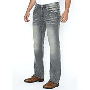 Slim Bootcut Men's Jeans – Faded and Ripped Denim Jean – Soft Comfort