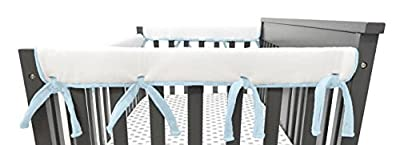 """American Baby Company Heavenly Soft Chenille Reversible Rail Covers for Crib Sides, 2 Piece, Gray & White Narrow for Crib Rails Measuring up to 8"""" Around!"""