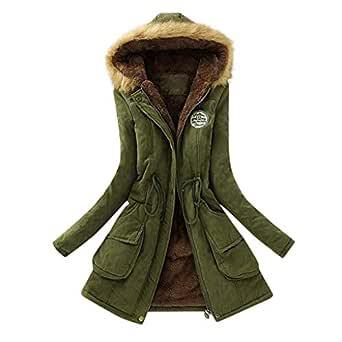 Gillberry Women's Jacket Women's Jacket Warm Long Coat Hooded Slim Winter Outwear Tops For Small Army Green