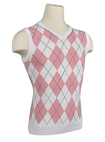 Children's Argyle Golf Sweater Vest - White/Pink/Black Overstitch (Large)