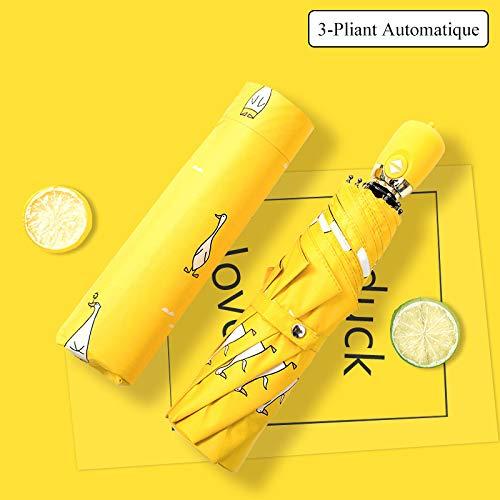 Mode et Mignon Parapluie Anti-Ultraviolet Motif de Canard Jaune Doitsa 1pcs 3-Folding Parapluie Pliant Compact pour Femme Fille /Étudiant