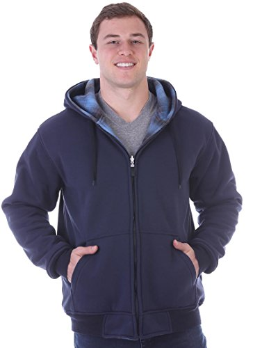 Woodland Supply Co.. Men's Reversible Fleece Zip up Hoodie (XX-Large, Blue Ombre) (Flannel Hoodie Reversible)
