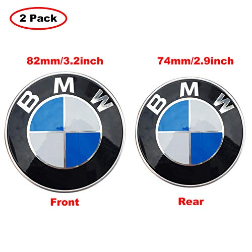 (Ldntly 2pcs BMW Logo,BMW Emblem Replacement for BMW Hood or Trunk,Front 82mm and Rear 74mm Emblem Badge Blue & White,for ALL Models BMW E30 E36 E46 E34 E39 E60 E65 E38 X3 X5 X6 3 4 5 6 7 8)