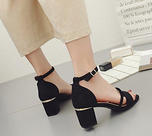 Verano Sandalias Correa de Tobillo Zapatos de Tacó Elegantes y Acogedor Sandalias de Gruesos Negro