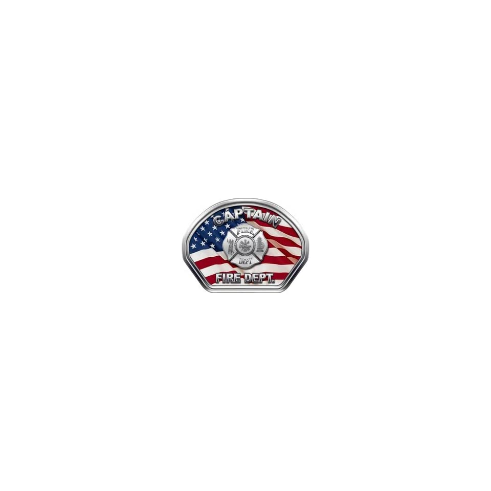 Firefighter Fire Helmet Front Face Captain American Flag Decal Reflective