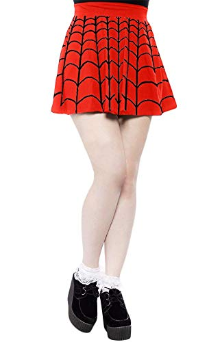 For G and PL Womens Spider Web Costume Pleated Casual Flare Mini Skirt Red & Black M ()
