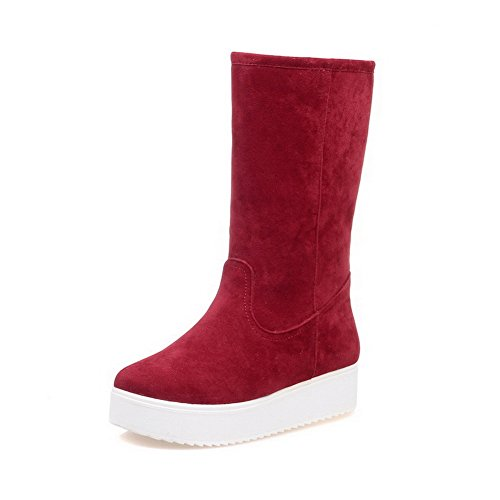 Red Round Low WeiPoot On Boots Imitated Low Women's Toe Suede Closed Heels Pull Top vwxqWOtwAp