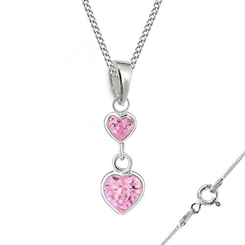 GH * rosa circonita corazón Brisur Pendientes + colgante + cadena 925plata auténtica Chica Mujer Set Pendientes