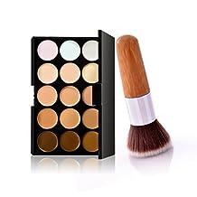 U-beauty® 15 Colors Contour Face Cream Makeup Concealer Palette+Bamboo Flat Head Brush