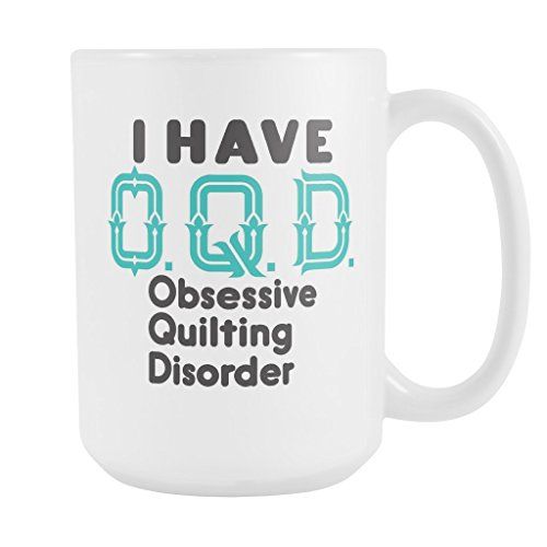 ArtsyMod OQD OBSESSIVE QUILTING DISORDER Premium Coffee Mug, PERFECT FUN GIFT for the Quilter, Quilting Lover! Attractive Durable White Ceramic Mug, 15oz., Robin Egg Blue & Black (Vest Robin)