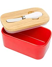 Arswin Butter Dish with Lid, LARGE 650ml Porcelain Keeper with Bamboo Cover & Stainless Steel Knife, Container Holds 2 Butter Sticks for Countertop Refrigerator, Easy Clean Butter Storage Dish