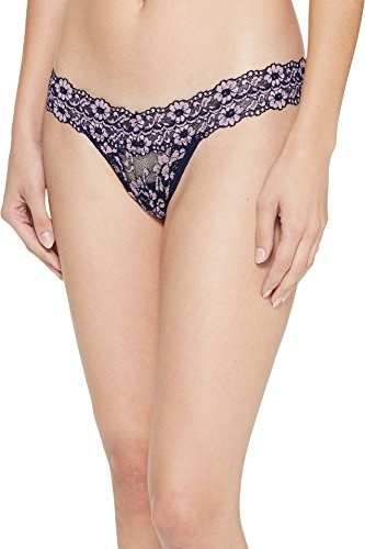- Hanky Panky Women's Cross-Dyed Signature Lace Low Rise Thong Navy/Pink One Size