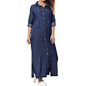 baskuwish Women's Solid Color Pocket Long Sleeve Denim Dress Swing T-Shirt Long Sleeve Dress