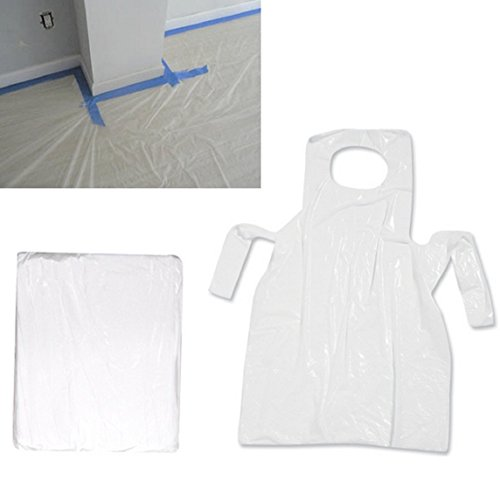 PAINT PLASTIC DROP CLOTH 9X12 with PAINTING COVERALL for Residential House & Work Projects, Perfect Use with ART CANVAS, EASEL FOR KIDS and Adults for Drip Protection