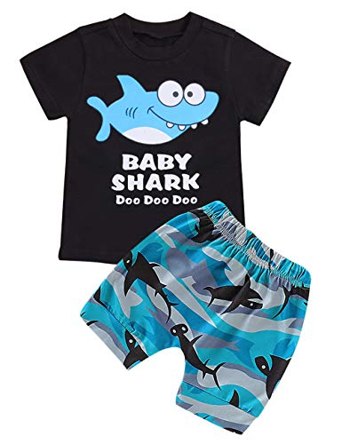 Baby Boy Girl Clothes Baby Shark Doo Doo Doo Printed Cotton Short Sleeve T-Shirts Tops and Short Pants Kid Summer Outfits(Size90/12-18M) Blue