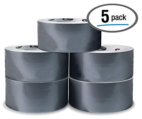 5 Pack Silver Heavy Duty Duct Tape by Better Office Products, 7.3mil, 1.88 Inch x 30 Yards Per Roll, Easy Tear, 5 Pack…