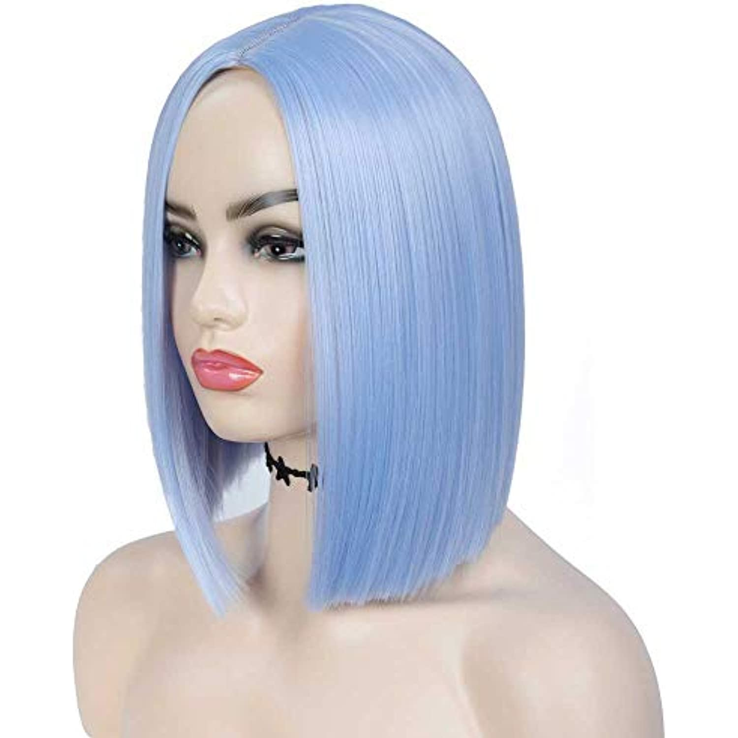 Tereshar BLUE/BLACK Wig Short Straight Bob Hair Wigs for Women Middle Part Heat Resistant Colored Wigs for Daily Party Cosplay Use(12 inches)(LOT OF 9)