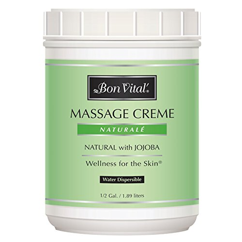 Massage Cream by Bon Vital, Naturale Massage Cream, Professional Massage Therapy Cream with Natural Ingredients for an Earth-Friendly & Relaxing Massage, Full Body Daily Moisturizer for Smooth Skin, 1/2 Gallon Jar ()