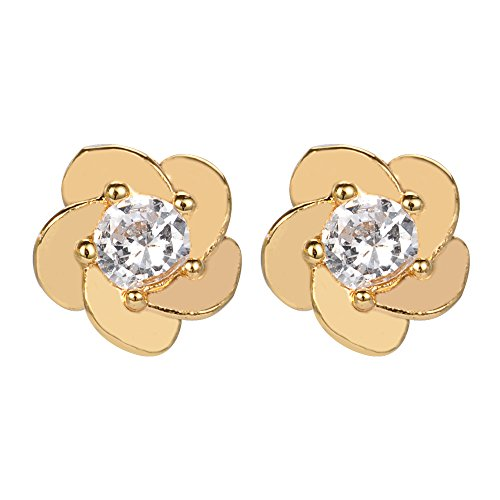 18k Yellow Gold Plated CZ Plumeria Stud Earrings