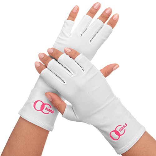 OC Nails UV Shield Glove (CLASSIC WHITE) Anti UV Glove for Gel Manicures with UV/LED ()