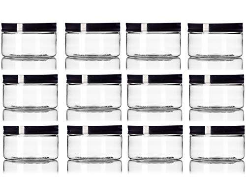 2 oz Clear Straight sided Plastic Jar with Black smooth Lid - Pack of 12