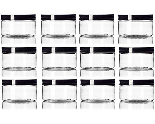 (Clear 4 oz Plastic Jar Straight sided Black Lid - Pack of 12)