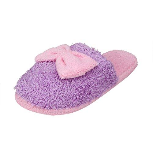 Sunfei Femmes Doux Chaud Intérieur Bowknot Pantoufles De Coton Maison Anti-dérapant Chaussures Violet
