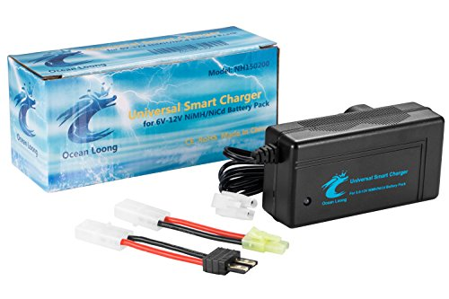 Ocean Loong 2-Amp NiMH/NiCd Smart Fast Charger for 6V-12V 1000mAh-10000mAh RC Car Battery Pack with Standard Tamiya Connector and Traxxas adapter connector