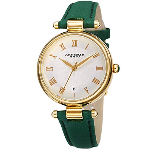 Akribos XXIV AK1070 Designer Women's Watch - Crocodile Embossed Genuine Leather - Guilloche Dial - Roman Numerals - Date of Month (Forest Green)