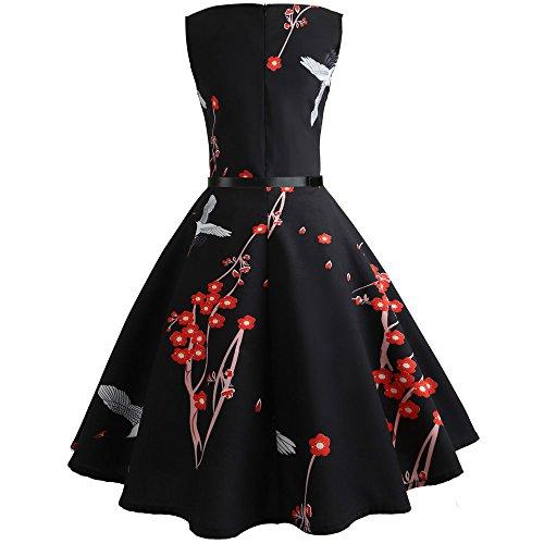 Robe Swing Vintage Mrulic Bal Manche Sans Casual Manches Moulante Femme Courtes De Soirée Noir px7Hdxw