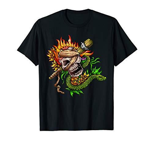 - Custom Flaming Snake Skull TShirt