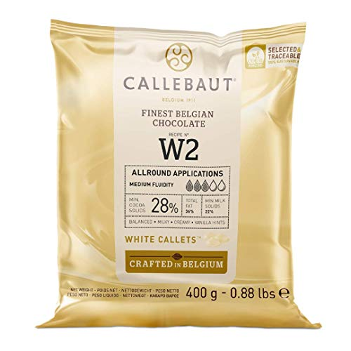 CALLEBAUT Ontvanger Nr. W2 – Couverture Callets, witte chocolade, 28% cacao, 400g – 1 verpakking