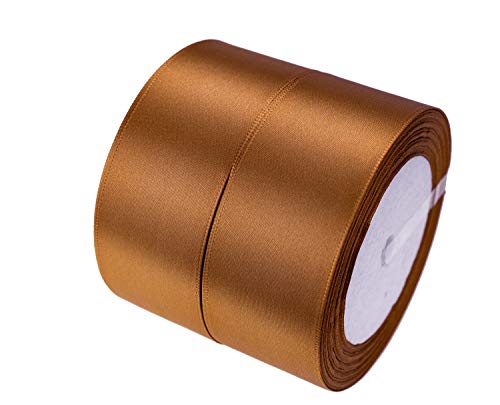 ATRibbons 50 Yards 1-1/2 inch Wide Satin Ribbon Perfect for Wedding,Handmade Bows and Gift Wrapping,25 Yards/Roll x 2 Rolls (Purple Bronze)