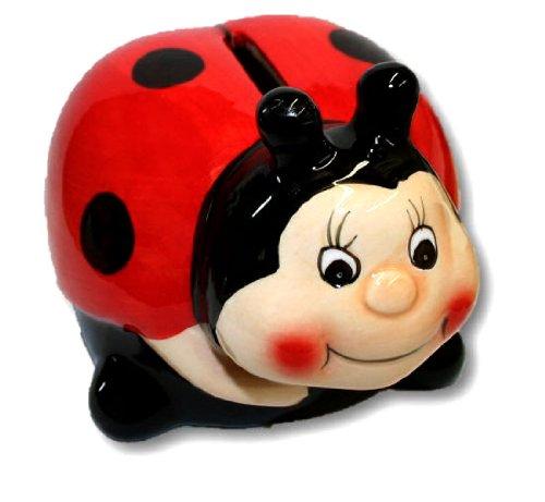 Ceramic Ladybug Coin Bank Money Holder