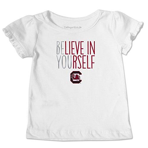 White South Carolina Sweatshirt - NCAA South Carolina Fighting Gamecocks Toddler Ruffle Tee, 4 Toddler, White
