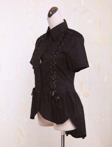 AvaLolita Women's Black Short Sleeve Bottons Lace Up Front Lolita Blouse, Black, Small