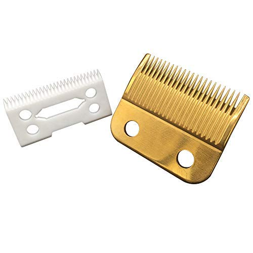 professional ceramic clipper blades 2 hole blade ceramic clipper replacement blades with Gold steel blade for Wahl Senior cordless Clipper, Wahl Magic clip, wahl sterling senior (White + Gold Blade)