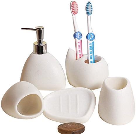 YULINGTRADE セラミック ホワイトサンド バスルーム セット 5 ホーム ウォッシュ セット バスルーム シンプル セット 簡潔な スタイル バスルームセット (Color : White)