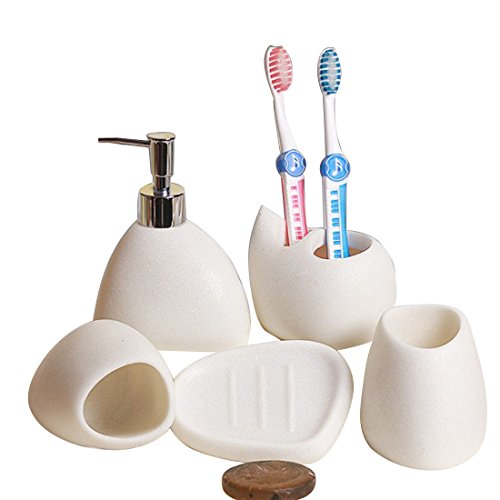 Ceramic White Sand Bathroom Set Of 5 Home Wash Set Bathroom Simple Set (Color : White) by None