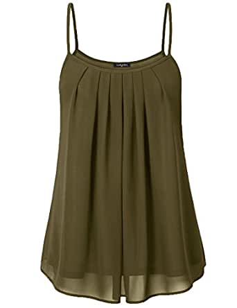 Laksmi Women's Summer Cool Casual Sleeveless Pleated Chiffon Layered Cami Tank Top (Small, Army Green)