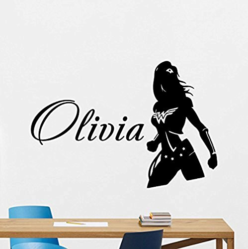 Personalized Wonder Woman Wall Decal Marvel Comics Girl Custom Name Superhero Vinyl Sticker Wall Decor Cool Wall Art Kids Teen Girl Room Wall Design Modern Bedroom Wall Decor Mural -