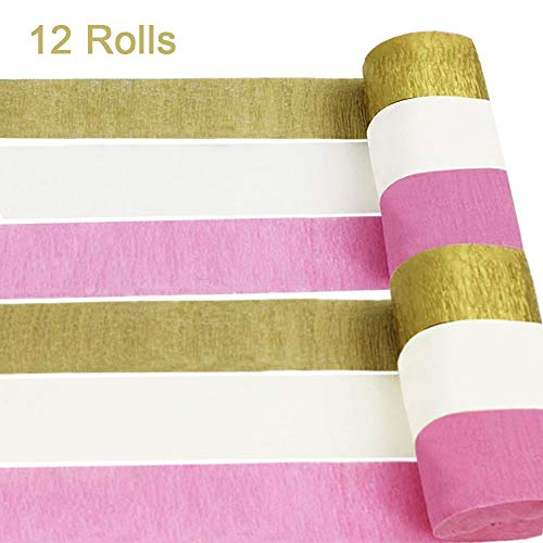 AimtoHome 12 Rolls Crepe Paper Streamers, Pink White Gold Party Streamers Photo Booth Backdrop Decorations, for Birthday Party, Class Gathering, Family Gathering, Wedding, Baby Shower Decoration -