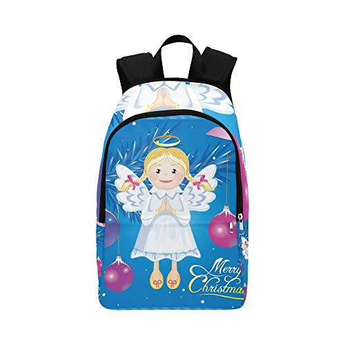 ENEVOTX Greeting Christmas Card Angel Toy Casual Daypack Travel Bag College School Backpack for Mens and ()