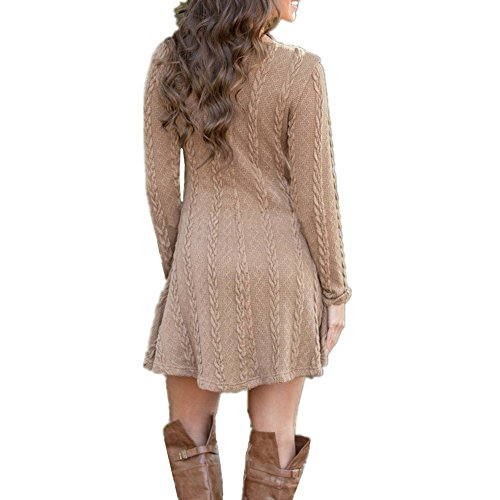 (True Meaning Faddish Women's Casual Crewneck Fall Knitted Long Sleeve Sweater Dress BrownX-Large)