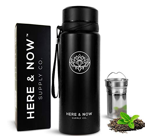 25 oz Multi-Function Travel Mug and Tumbler   Tea Infuser Water Bottle   Fruit Infused Flask   Hot & Cold Double Wall Stainless Steel Coffee Thermos   by Here & Now Supply Co. (Zen Black)