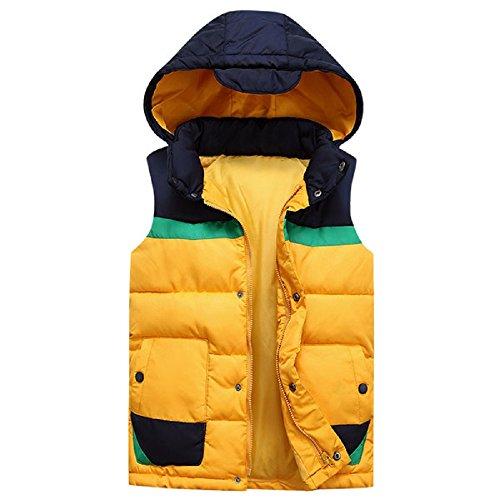 雪だるまを作るステレオ結果Spinas(スピナス) ダウン ベスト 男女兼用 フード付き 厚手 全4色(ホワイト/レッド/イエロー/ブルー )(XL,イエロー)